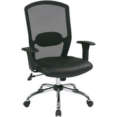 Work Smart Screen Back Office Chair with Leather Seat and Chrome Finish Base- Black
