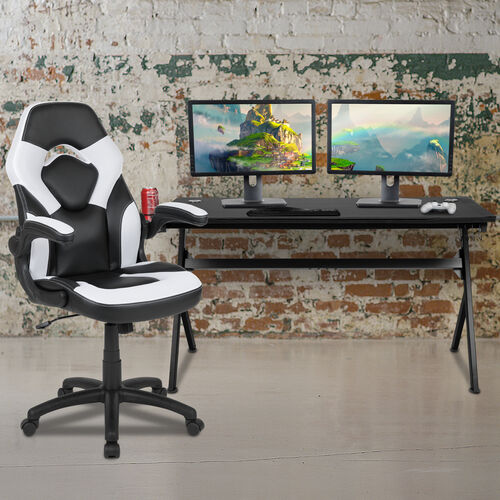 BlackArc Black Gaming Desk and White/Black Racing Chair Set with Cup Holder, Headphone Hook and Removable Mouse Pad Top - 2 Wire Management Holes