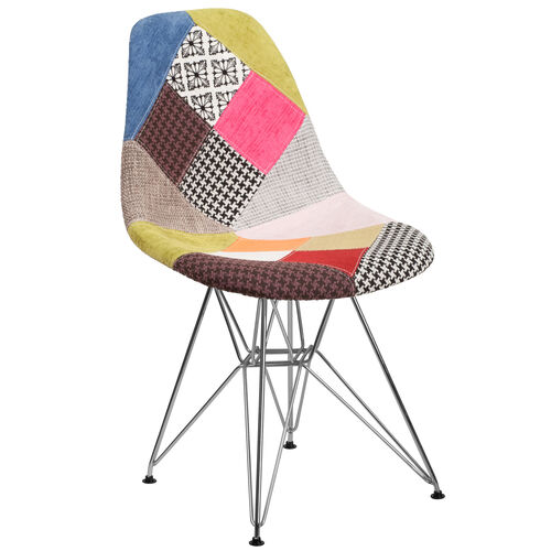 Our Elon Series Milan Patchwork Fabric Chair with Chrome Base is on sale now.