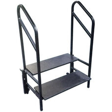 Portable 2 Step Stage and Seated Riser with Heavy - Gauge Frame and Handrail - 36''W x 40''D x 55''H