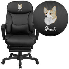 Embroidered High Back Black Leather Executive Reclining Swivel Chair with Comfort Coil Seat Springs and Arms