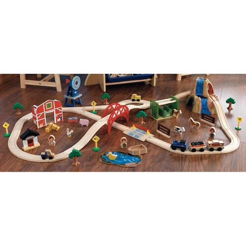 Our Kids Wooden Farm Train and Track Play Set Includes 75 Pieces is on sale now.