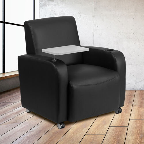 LeatherSoft Guest Chair with Tablet Arm, Front Wheel Casters and Cup Holder