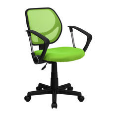 Low Back Green Mesh Swivel Task Office Chair with Arms