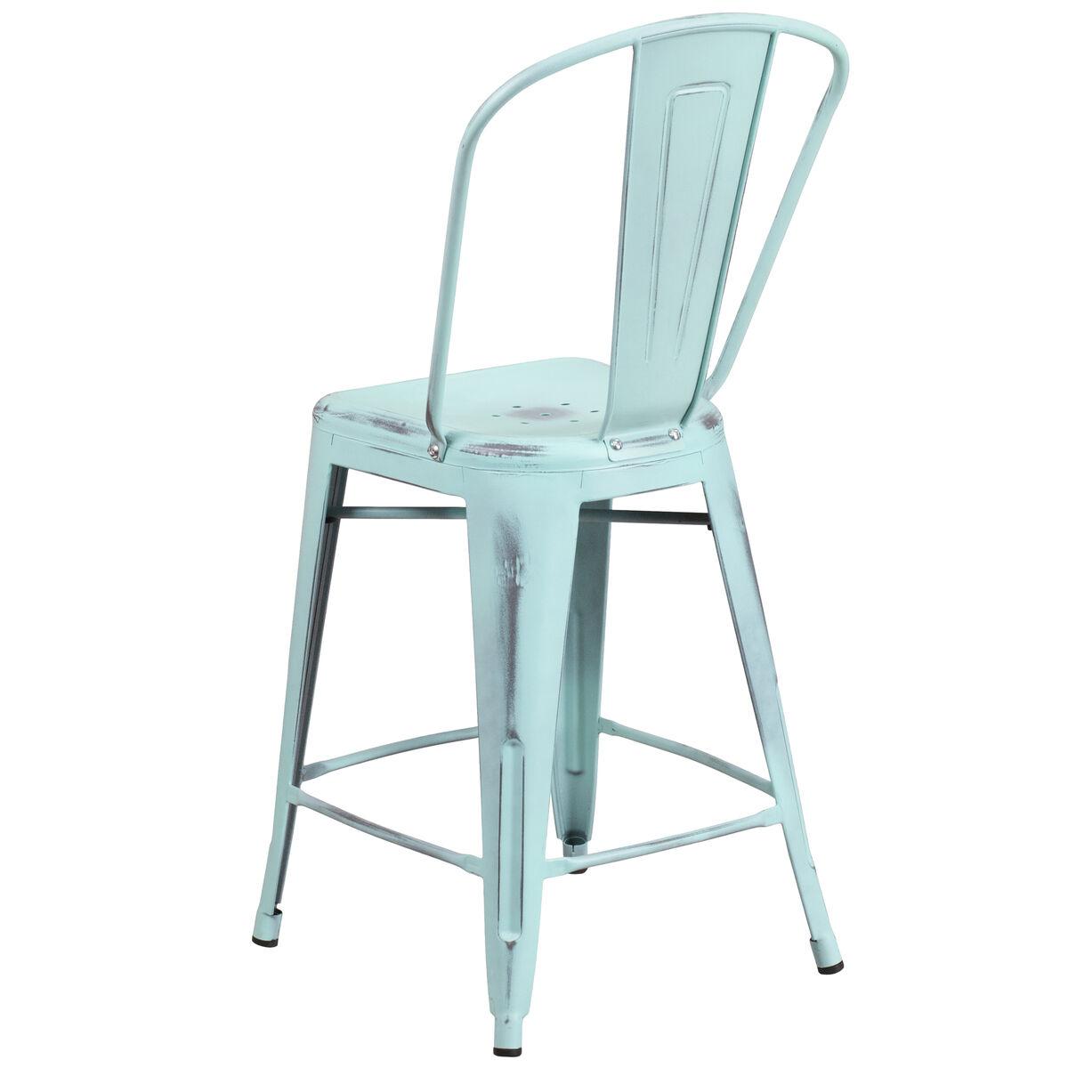 Flash Furniture 24 High Distressed Green Blue Metal