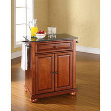 Solid Black Granite Top Portable Kitchen Island with Alexandria Feet - Classic Cherry Finish