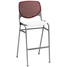 2300 KOOL Series Stacking Poly Armless Barstool with Burgundy Perforated Back and White Seat