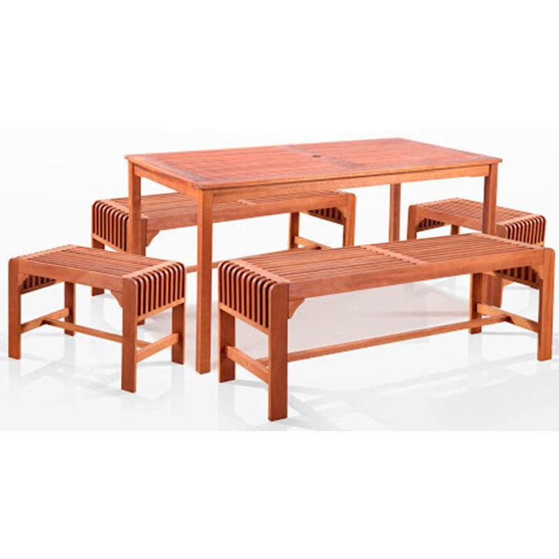... Our Malibu Outdoor 5 Piece Wood Patio Dining Set With 2 Four Foot  Backless Benches And ...