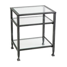 Contemporary Silver Distressed Black Metal and Tempered Glass 16.5