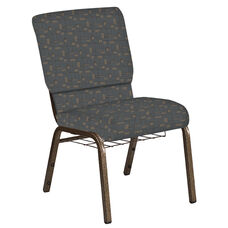 Embroidered 18.5''W Church Chair in Circuit Teal Fabric with Book Rack - Gold Vein Frame