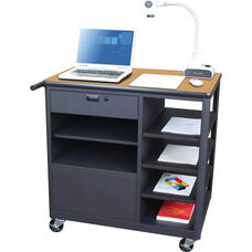 Vizion Presenter Mobile Teacher Workstation with Acrylic Door and Four Side Shelves - Oak Laminate