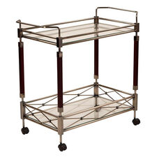 OSP Designs Melrose Serving Cart with Tempered Glass Shelves and Solid Wood Poles - Antique Brass