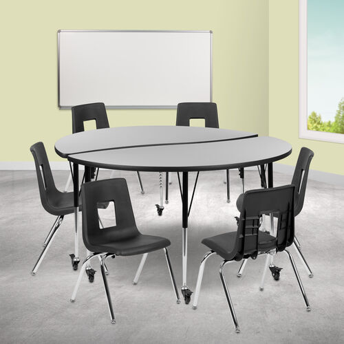 "Our Mobile 60"" Circle Wave Collaborative Laminate Activity Table Set with 18"" Student Stack Chairs, Grey/Black is on sale now."