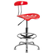 Vibrant Red and Chrome Drafting Stool with Tractor Seat