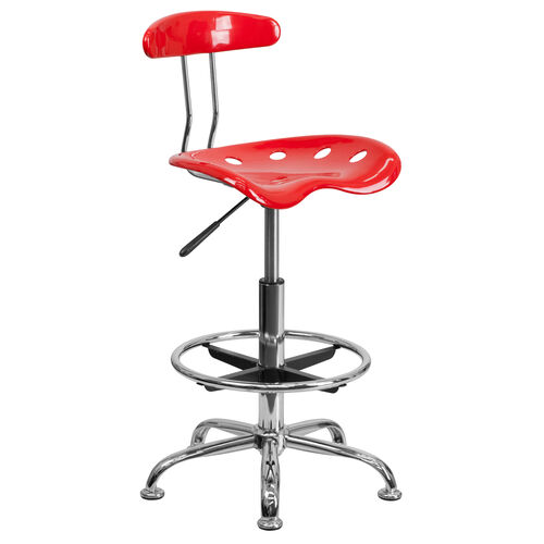Our Vibrant Red and Chrome Drafting Stool with Tractor Seat is on sale now.
