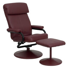 Contemporary Burgundy Leather Recliner with Headrest and Ottoman with Leather Wrapped Base