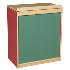 Strawberry Red Big Book Display and Storage with Locking Piano Hinged Top with Chalkboard on Front - Assembled - 24