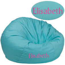 Personalized Oversized Solid Mint Green Bean Bag Chair for Kids and Adults