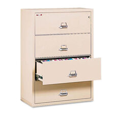 FireKing® Four-Drawer Lateral File - 31-1/8 x 22-1/8 - UL Listed 350° - Ltr/Legal - Parchment