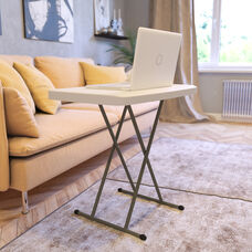 30 Inch Granite White Indoor/Outdoor Plastic Folding Table, Adjustable Height Commercial Grade Side Table, Laptop Table, TV Tray