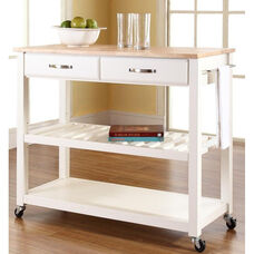 Natural Wood Top Kitchen Island Cart - Maple and White Finish
