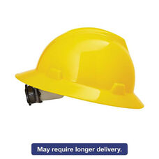 MSA V-Gard Hard Hats - Fas-Trac Ratchet Suspension - Size 6 1/2 - 8 - Yellow