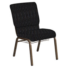 Embroidered 18.5''W Church Chair in Mystery Ebony Fabric with Book Rack - Gold Vein Frame