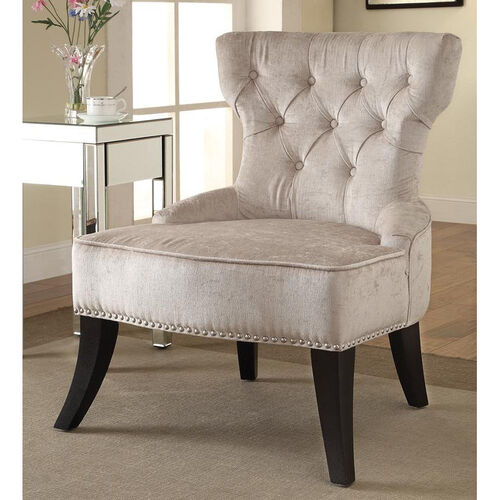 Our Ave Six Colton Vintage Style Button Tufted Velvet Chair - Brilliance Parchment Cream is on sale now.