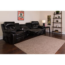 Reel Comfort Series 3-Seat Reclining Black LeatherSoft Theater Seating Unit with Curved Cup Holders