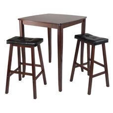 Inglewood 3-Pc Pub Table with 2 Cushioned Saddle Stools
