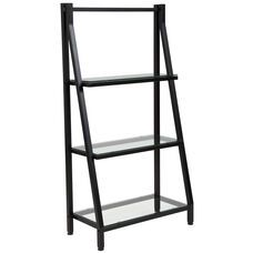 Highland Collection Glass Bookshelf with Black Metal Frame