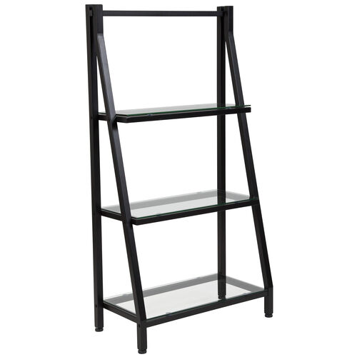 """Our Highland Collection 3 Shelf 45.5""""H Glass Bookcase with Black Metal Frame is on sale now."""
