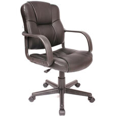 Massage Mid-back Leather Task Chair - Black
