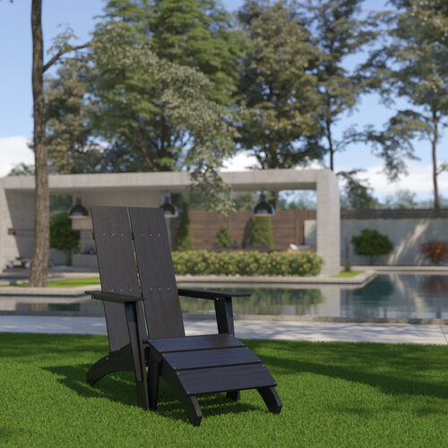 Sawyer Modern All-Weather Poly Resin Wood Adirondack Chair with Foot Restin Black