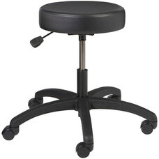 Industrial Round Vinyl Stool with ABS Base and Dual Wheel Casters