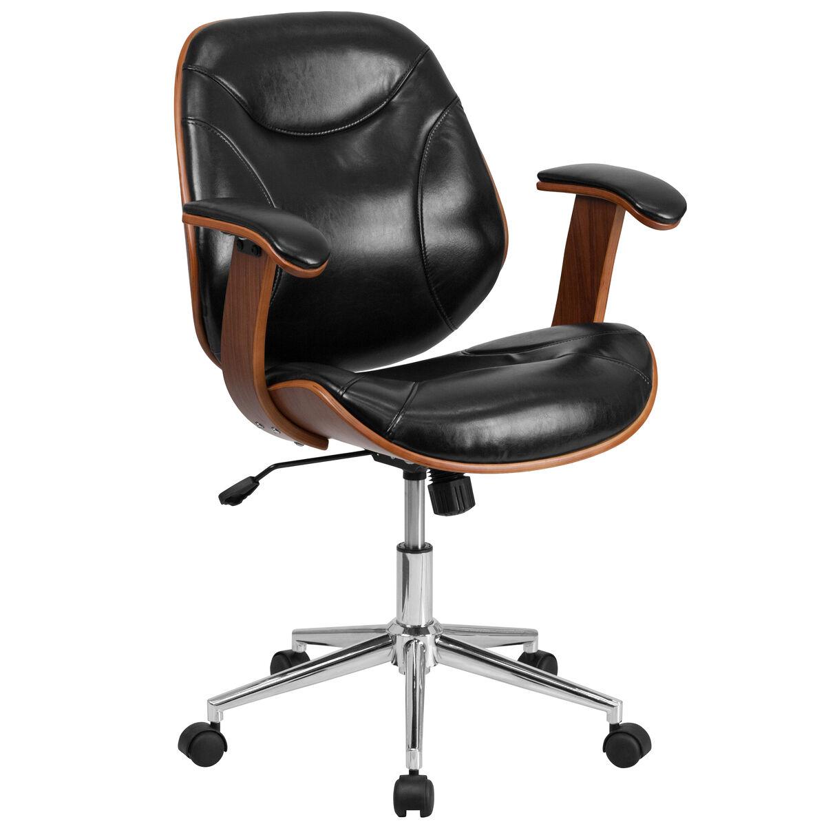 Flash Furniture Mid Back Black Leather Executive Wood