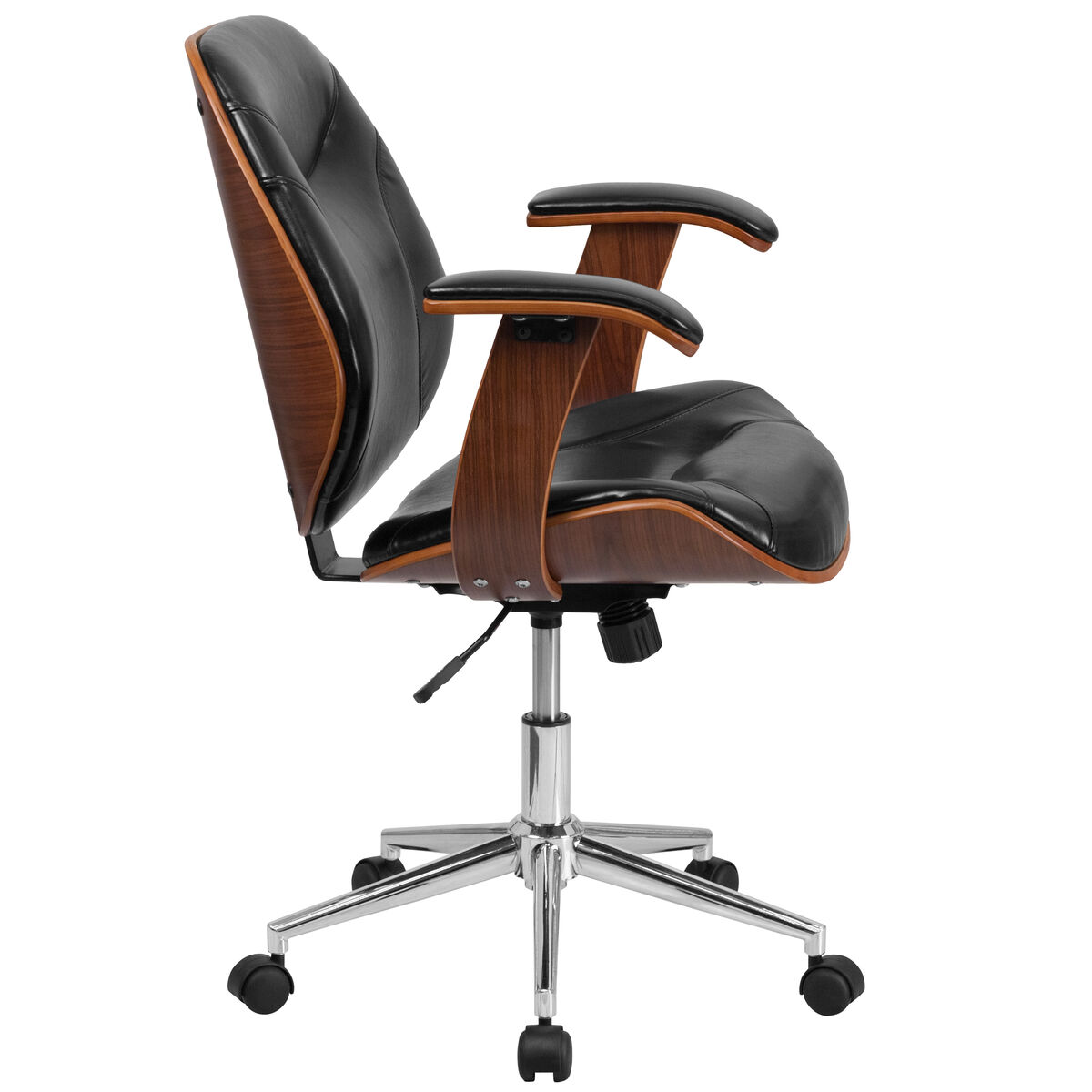 Our Mid Back Black Leather Executive Ergonomic Wood Swivel Office Chair With Arms Is On