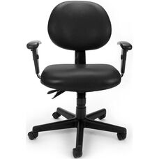 24 Hour Anti-Microbial and Anti-Bacterial Vinyl Task Chair with Arms - Black