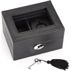 Luxury Smart Watch Box and USB Charging Storage Unit Designed for Apple Watch- Milano Top Grain Leather - Black