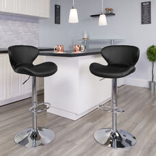 Contemporary Black Vinyl Adjustable Height Barstool with Curved Back and Chrome Base