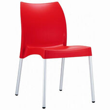 Vita Outdoor Resin Stackable Dining Chair with Aluminum Legs - Red
