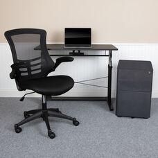 Work From Home Kit-Adjustable Desk, Ergonomic Mesh Office Chair, Filing Cabinet