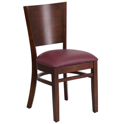 Our Walnut Finished Solid Back Wooden Restaurant Chair with Burgundy Vinyl Seat is on sale now.