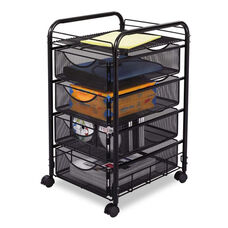 Safco® Onyx Mesh Mobile File With Four Supply Drawers - 15-3/4w x 17d x 27h - Black