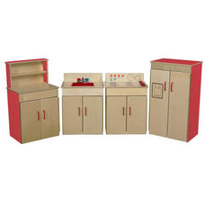Strawberry Red Pretend Play Healthy Kids Plywood Classic Appliances with Deluxe Hutch Set - Assembled - Set of 4