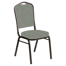 Embroidered Crown Back Banquet Chair in Interweave Charcoal Fabric - Gold Vein Frame
