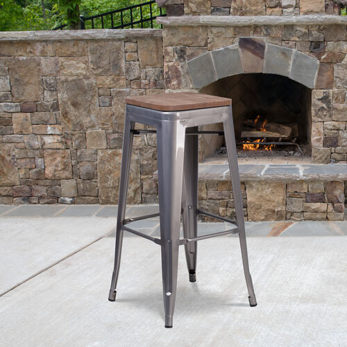 """30"""" High Backless Clear Coated Metal Barstool with Square Wood Seat"""