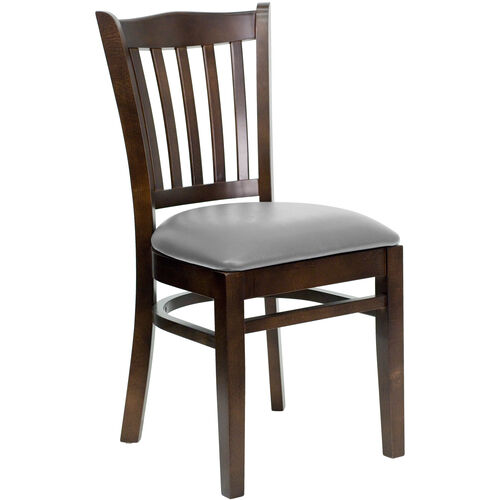 Our Walnut Finished Vertical Slat Back Wooden Restaurant Chair with Custom Upholstered Seat is on sale now.