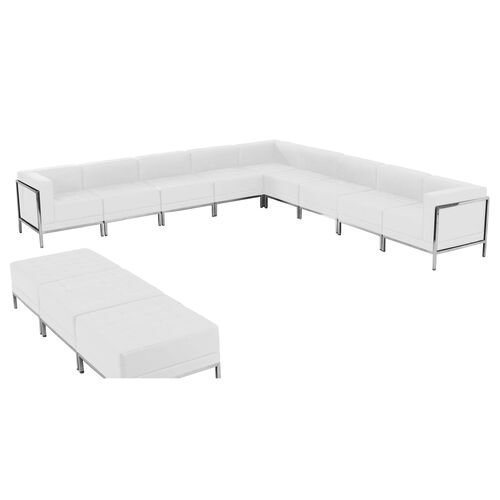 Our HERCULES Imagination Series Melrose White LeatherSoft Sectional & Ottoman Set, 12 Pieces is on sale now.