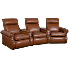 Bradford Three Seater Home Theater - Wedge Arm in Bonded Leather